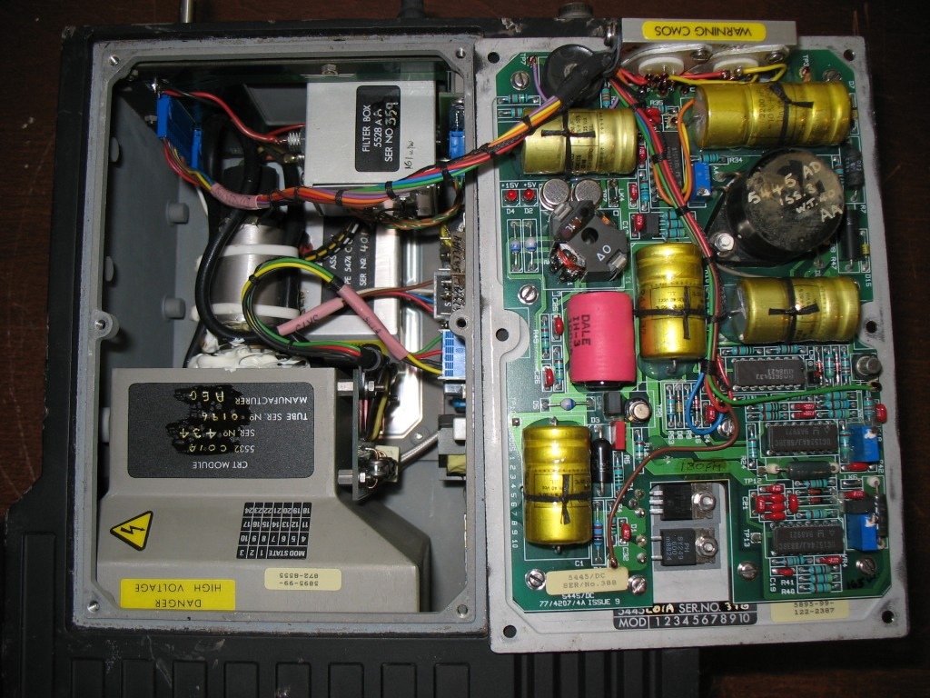 Side panel removed, showing the pain PSU board and video electronics